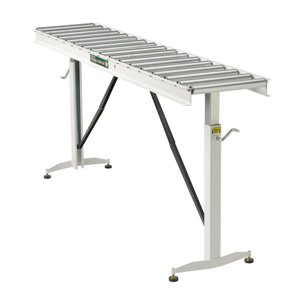 HTC 26.5 in. to 43.5 in., 15 in. Wide Roller Table Adjustable Conveyor with 17 Rollers