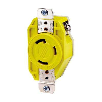 30 Amp 125-Volt Flush Mounting Locking Outlet Industrial Grade Grounding Corrosion Resistant, Yellow