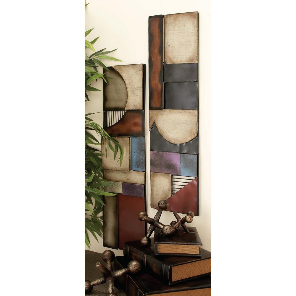 8 in. x 31 in. Industrial Multicolored Abstract Iron and Wood-Style