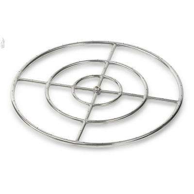 30 in. Triple-Ring 304. Stainless Steel Fire Pit Ring Burner, 3/4 in. Inlet
