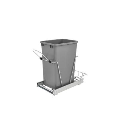 19.25 in. H x 10.62 in. W x 22 in. D Single 35 Qt. Pull-Out Silver and Chrome Waste Container with Rear Basket