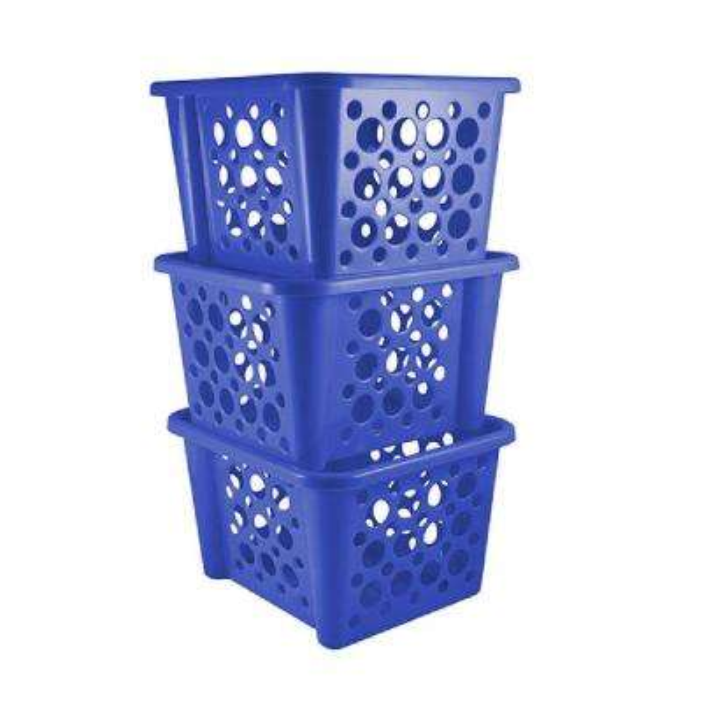 Stackable Basket in Blue (3-Pack)