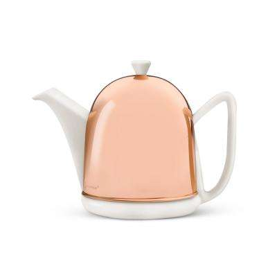 34 fl. oz. Spring White Cosy Manto Teapot with Copper Casing