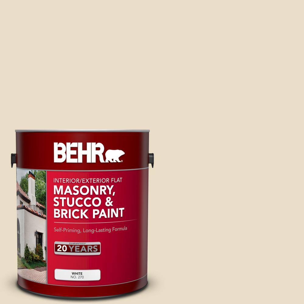 BEHR 1 gal. #22 Navajo White Flat Interior/Exterior Masonry, Stucco and Brick Paint