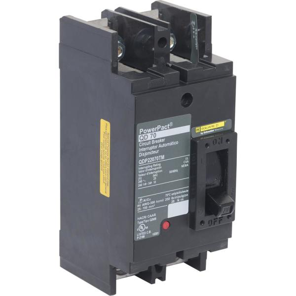 PowerPact 70 Amp 25kA 2-Pole Q-Frame Molded Case Circuit Breaker