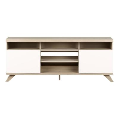 Cinati Soft Elm and Pure White TV Stand with Doors (Fits TVs up to 75 in.)