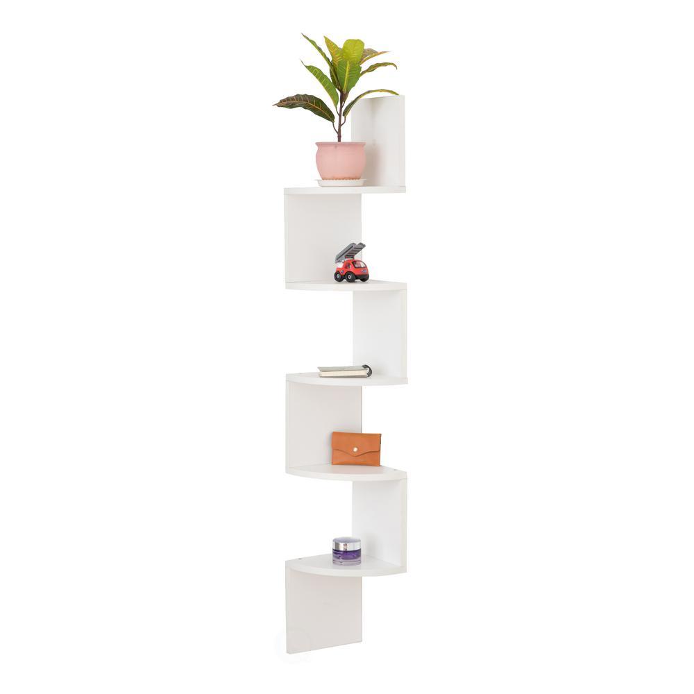 Basicwise White 5-Tier Wall Mount Corner Shelf QI003554.W