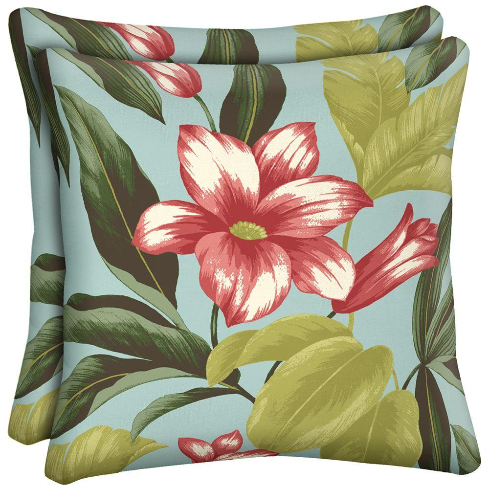 Hampton Bay Riviera Bloom Outdoor Throw Pillow (2-Pack)-DISCONTINUED