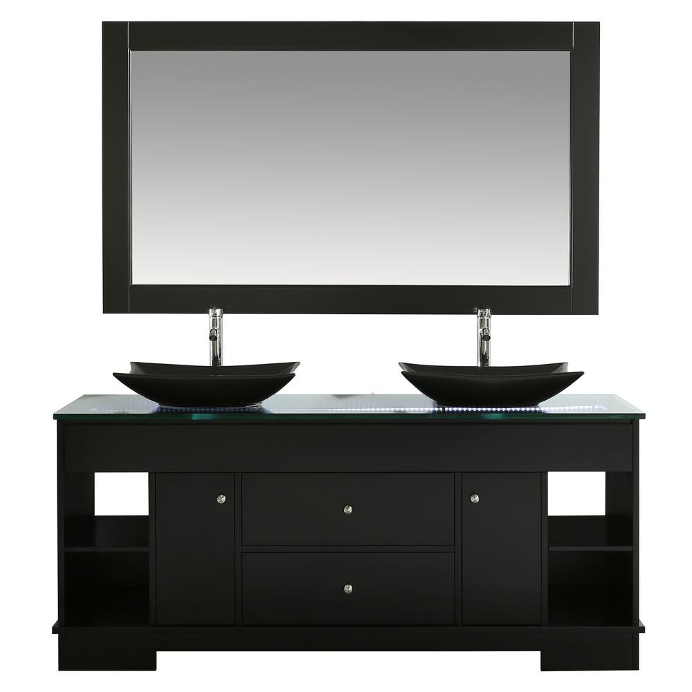 Design Element Oasis 72 In W X 22 D Double Vanity Espresso With Gl Top Clear Black Basinirror