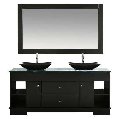 Oasis 72 in. W x 22 in. D Double Vanity in Espresso with Glass Vanity Top in Clear with Black Basins and Mirror