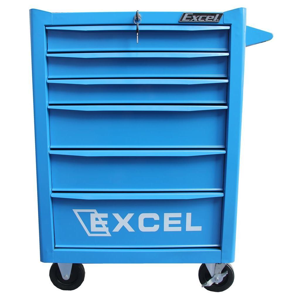25.8 in. W x 17.7 in. D x 37 in. H Steel Roller Cabinet, Blue