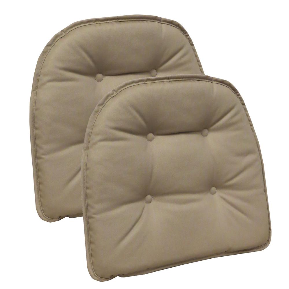 Gripper Non-Slip 15 in. x 16 in. Twill Brownstone Tufted Chair Cushions  (Set of 2)