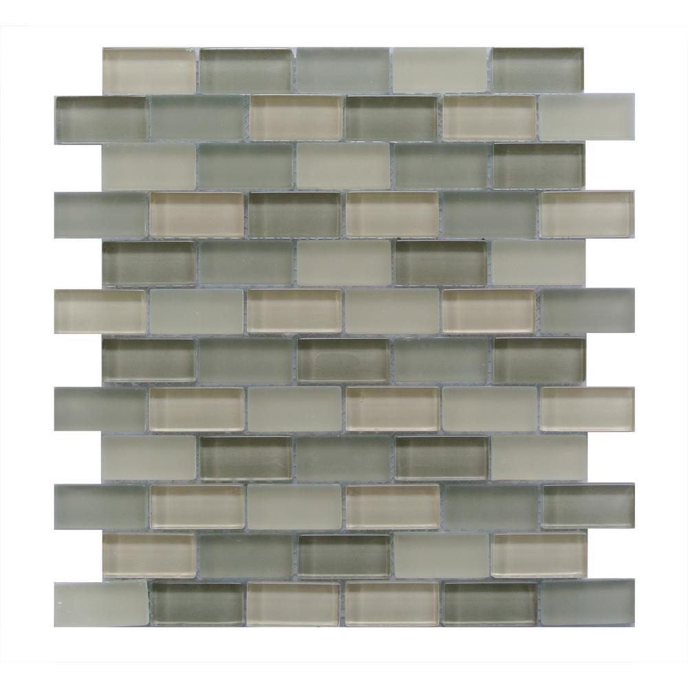 Beige Taupe Mosaic 1 In X 2 Blend Gl Mesh Mounted Decorative Bathroom