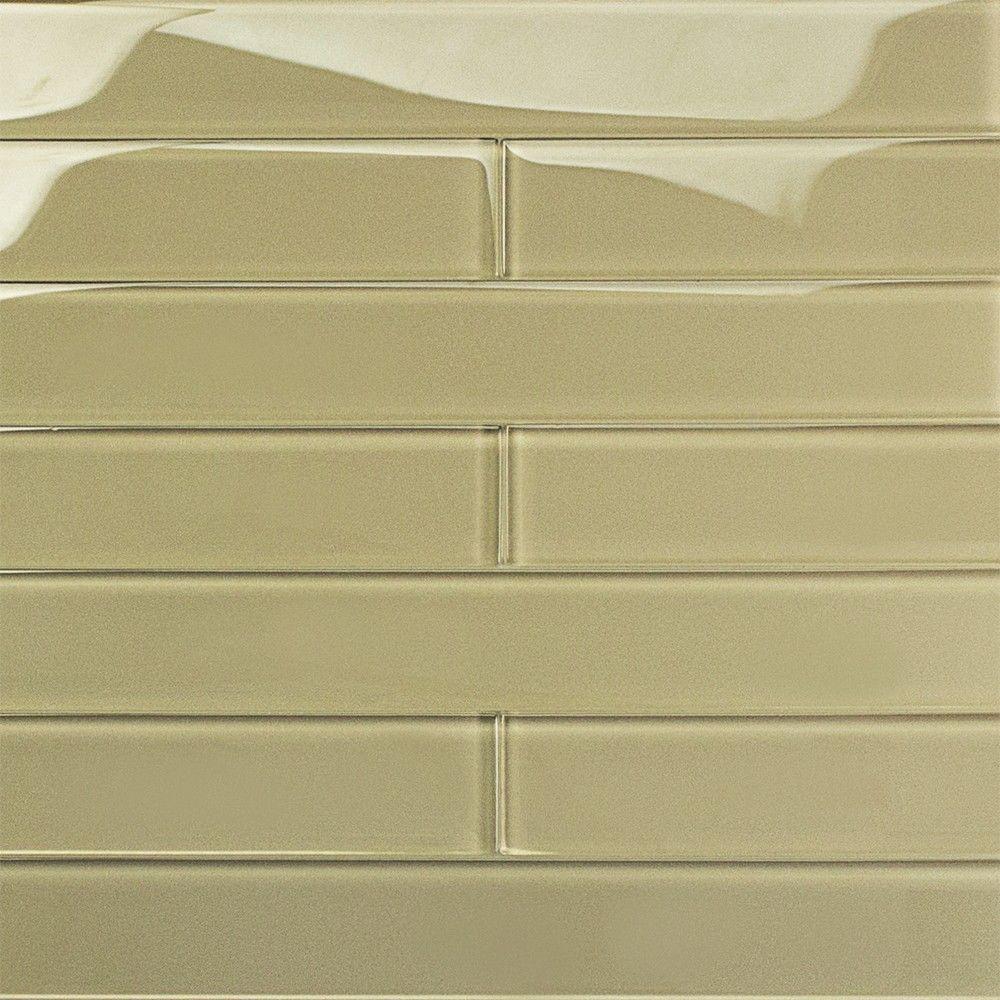 Contempo Vista Polished Macadamia Glass Mosaic Wall Tile - 3 in.