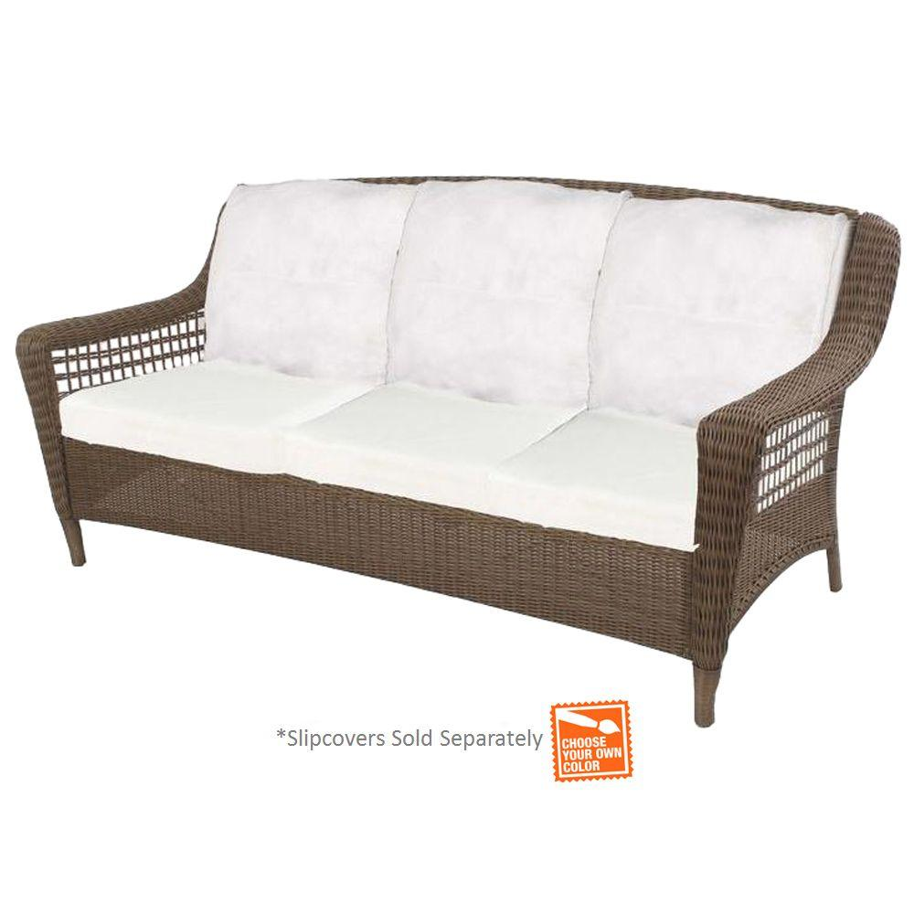Spring Haven Grey Wicker Outdoor Patio Sofa With Cushion Insert (Slipcovers
