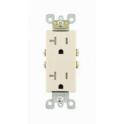 Decora 20 Amp Ultrasonic Tamper Resistant Duplex Outlet, Light Almond