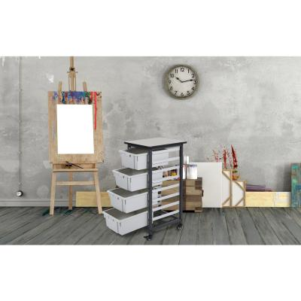 17 in. x 20 in. Mobile Bin Storage Cart Single Row and Double Bin in Black Frame