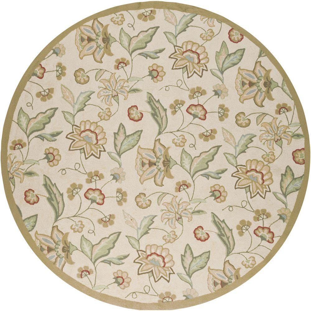 Artistic Weavers Lilium Beige 8 ft. x 8 ft. Round All-Weather Patio Area Rug