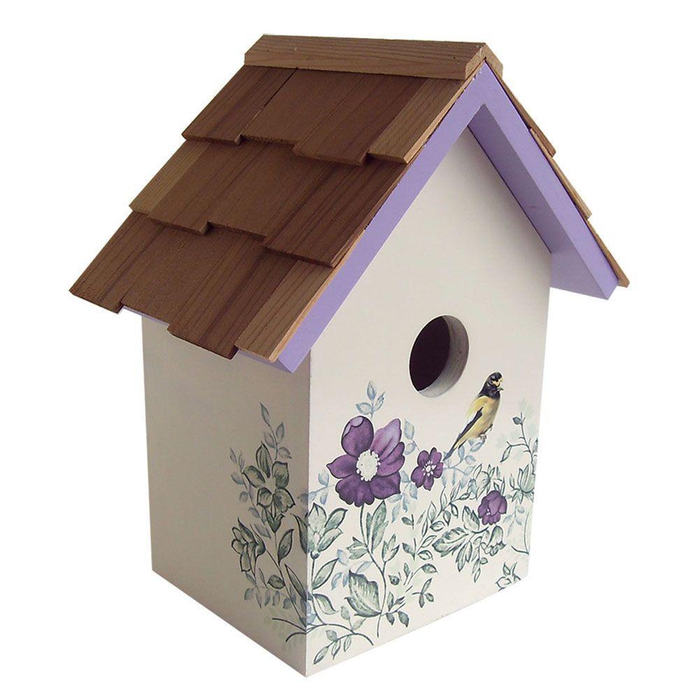 Home Bazaar Anemone, Cream Background Printed Standard Birdhouse
