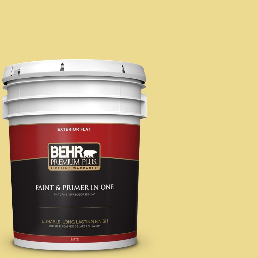 BEHR Premium Plus 5-gal. #P320-4 Pineapple Crush Flat Exterior Paint