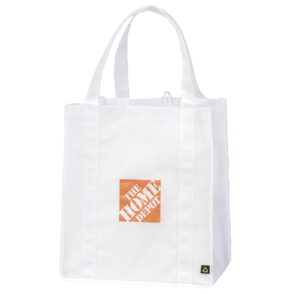 Large 10 in. Drop Handle Recyclable Tote Bag, White
