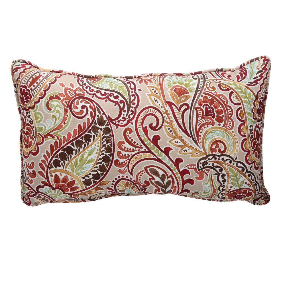 Hampton Bay Chili Paisley Lumbar Outdoor Throw Pillow