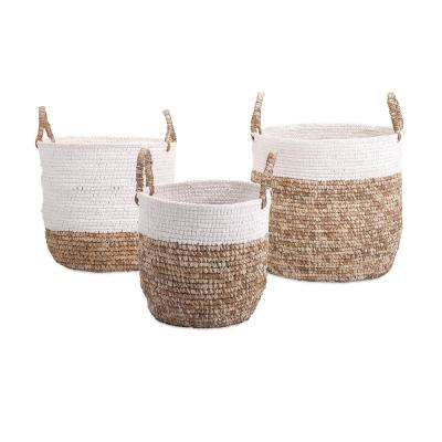 Shoelace and Raffia Woven Baskets (Set of 3)