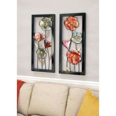 Tin Red and Slate Blue Floral Wall Decor (Set of 2)