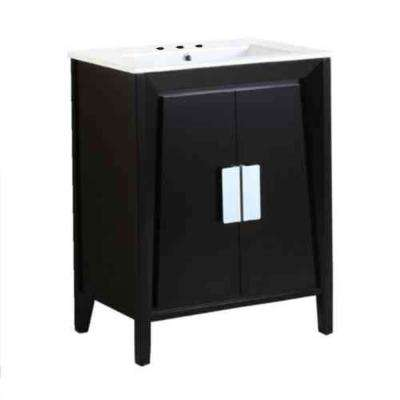 Clara 24 in. W x 18 in. D x 33 in. H Single Vanity in Dark Espresso with Ceramic Vanity Top in White with White Basin