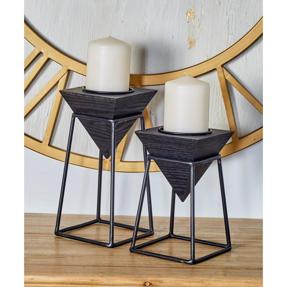 Black Wood and Iron Candle Holders with Black Stands (Set of