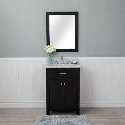Norwalk 24 in. W x 22 in. D Vanity in Espresso with Marble Vanity Top in White with White Basin and Mirror