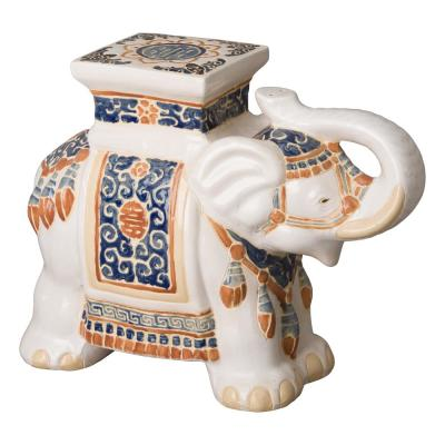 Elephant Beige Ceramic Indoor/Outdoor Garden Stool
