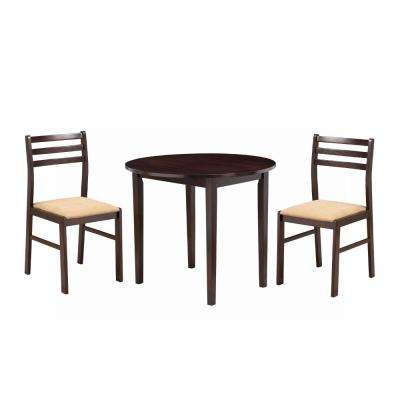 Transitional Style 3-Piece Brown Wooden Dining Table and Chair Set