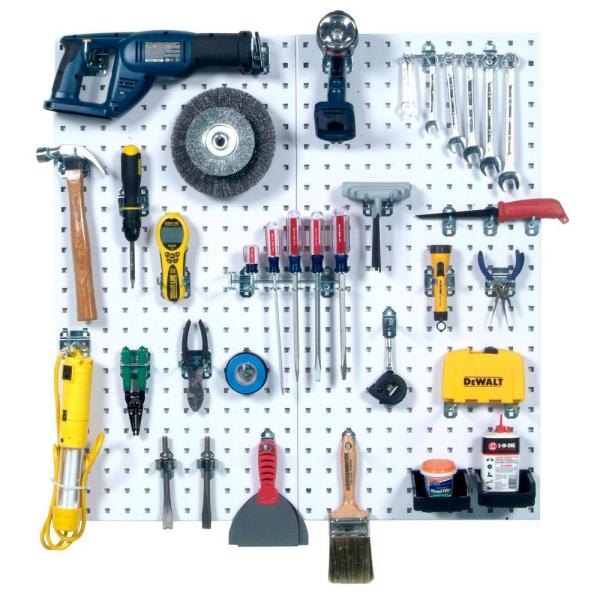 LocBoard 9-sq. ft. Steel Square Hole Pegboards with LocHook Assortment and Small Hanging Bins (28-Pieces)