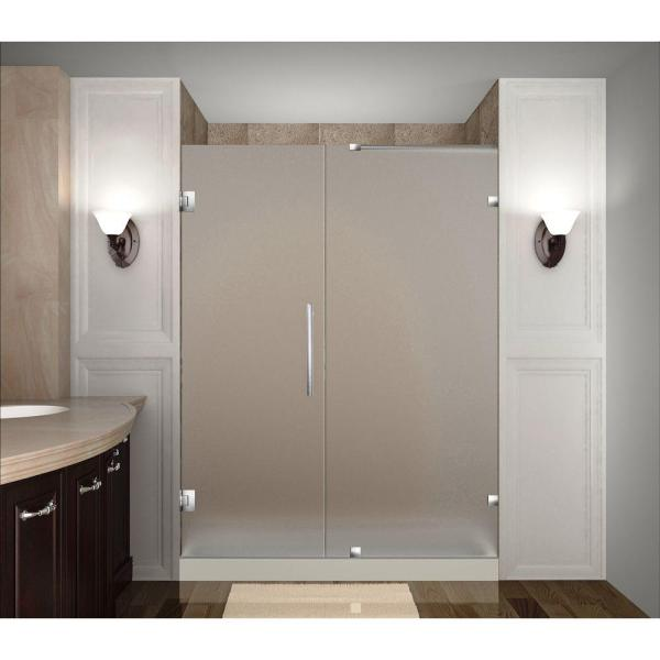 Nautis 54 in. x 72 in. Completely Frameless Hinged Shower Door with Frosted Glass in Stainless Steel