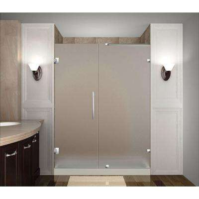 Nautis 58 in. x 72 in. Completely Frameless Hinged Shower Door with Frosted Glass in Stainless Steel
