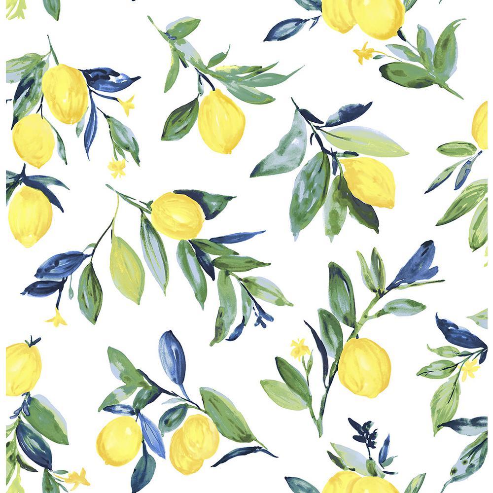 Nuwallpaper 30 75 Sq Ft Lemon Drop Yellow Peel And Stick