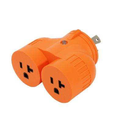 Generator 1-Volt to 2-Volt Outlet Adapter L5-30P 30 Amp 3-Prong Locking Plug to Two 15 Amp/20 Amp Household Outlet
