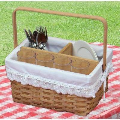 12.2 in. W x 9 in. x 6.5 in. H Woodchip Picnic Caddy Basket Lined with Lace Trim