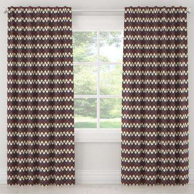 50 in. W x 63 in. L Unlined Curtains in Deco Diamond Rust Gold