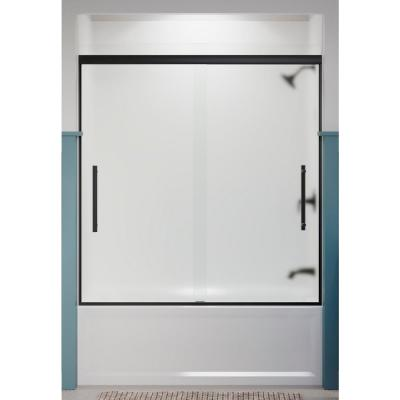 Pleat 59.625 in. x 63.5625 in. Frameless Sliding Bathtub Door in Matte Black with Frosted Glass