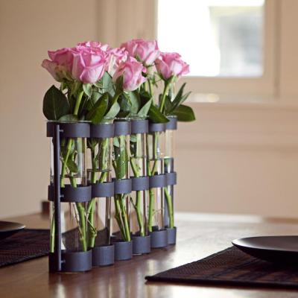 9 in. Glass 2.5 in. Decorative Vase -Tube Hinged Vases on Rings Stands Dark Brown