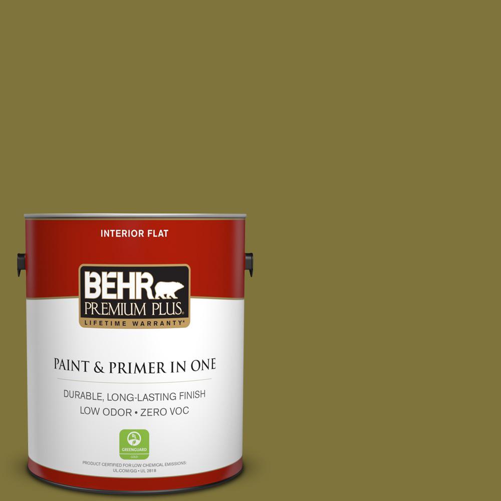 BEHR Premium Plus 1-gal. #390D-7 Marsh Grass Zero VOC Flat Interior Paint