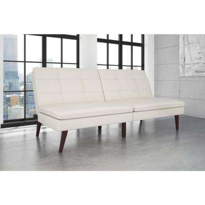 Wendy White Faux Leather Pillow Top Futon