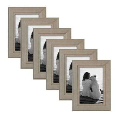 Kieva 4 in. x 6 in. Gray Picture Frame (Set of 6)