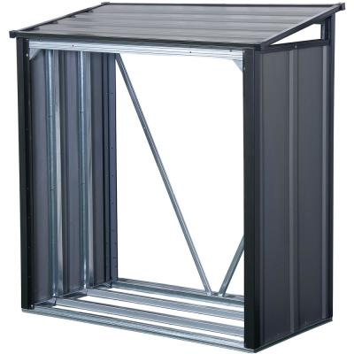4 ft. H x 2 ft. D x 4 ft. W Arrow Galvanized Steel Firewood Rack in Anthracite with Fire-Rated Fabric and Pent Roof