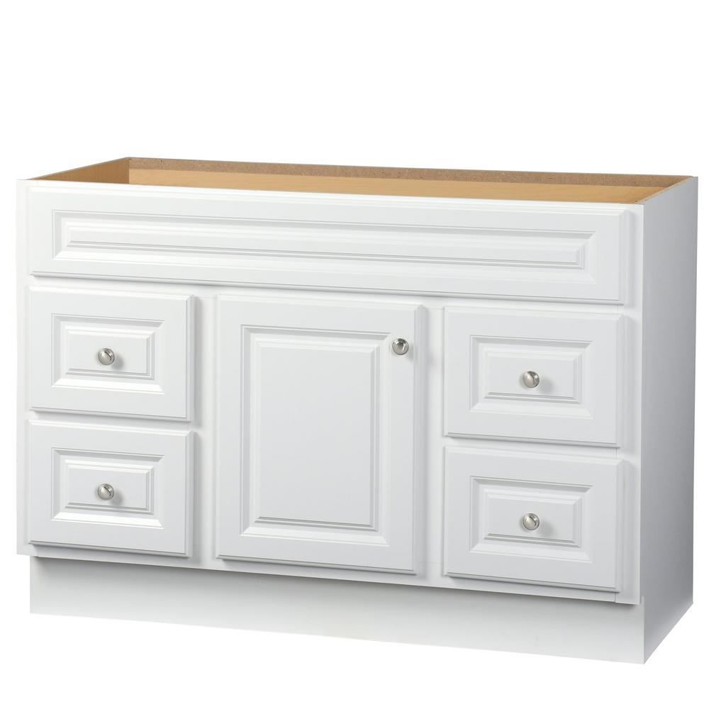 Glacier Bay Hampton 48 in  W x 21 in  D x 33 5 in  H Bath Vanity Cabinet  Only in White HWH48D   The Home Depot. Glacier Bay Hampton 48 in  W x 21 in  D x 33 5 in  H Bath Vanity