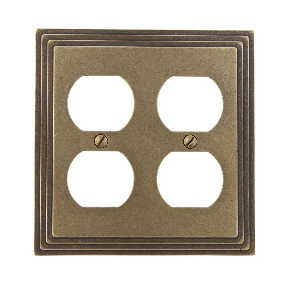 Amerelle Steps 1 Duplex Wall Plate - Rustic Brass