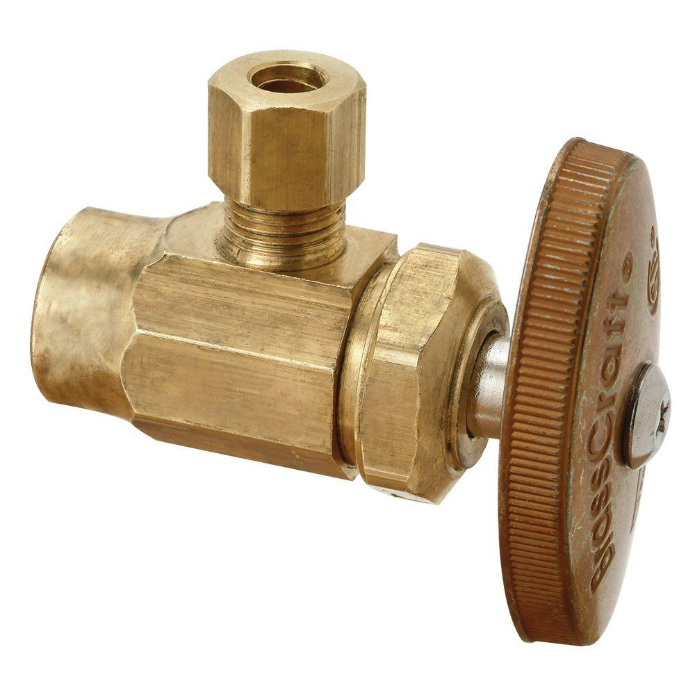 BrassCraft 1/2 in. Nominal Sweat Inlet x 1/4 in. O.D. Compression Outlet Brass Multi-Turn Angle Valve (5-Pack)