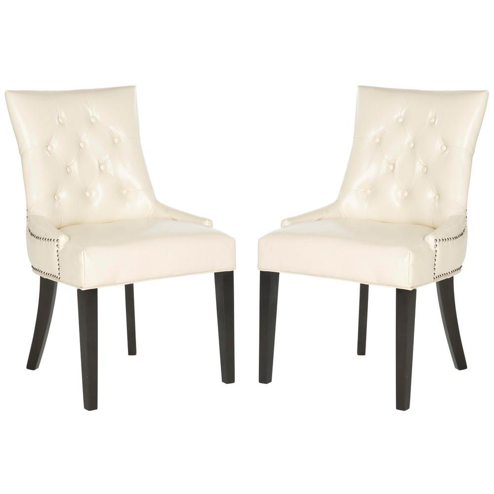 Safavieh Harlow Flat Cream/Espresso Bicast Leather Side Chair (Set of 2)